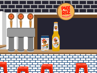 PHX RIZ Brewery - Inside Illustration beer brewery illustration design merchandise graphic design brand logo branding merch badge