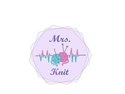 Mrs Knit graphic design art knitting illustrator icon vector branding logo design illustration
