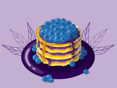 Pancakes delicious food dish blueberries jam pancakes flat vector logo illustrator illustration graphic design design art