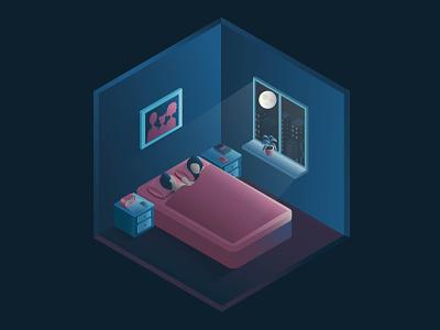 Isometric room illustrator illustration graphic design design art isometry city window moon night family bedroom isometric room
