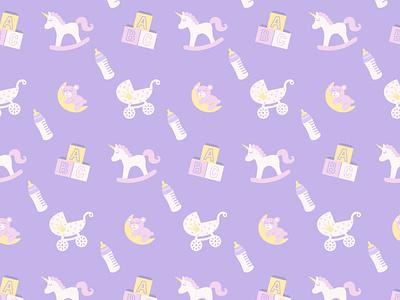 my baby pattern pattern unicorn alphabet teddy bear baby bottle baby carriage rocking horse cubes toys flat icon logo illustrator illustration graphic design design art vector