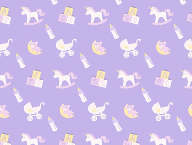 my baby pattern pattern unicorn alphabet teddy bear baby bottle baby carriage rocking horse cubes toys flat icon logo illustrator illustration graphic design design art vector