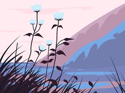 landscape for packing illustration flat vector illustrator graphic design design art plants mountain grass sunset flowers packing landscape