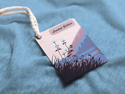 landscape mockap mockap vector illustrator graphic design design art label logo tag packaging landscape plants mountain grass sunset flowers
