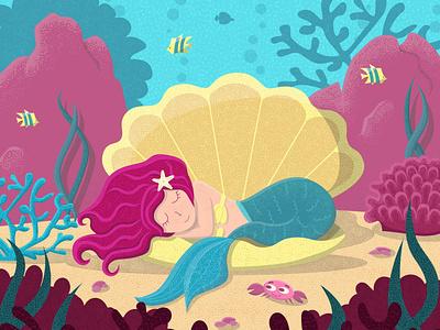 Little mermaid in a shell pearl starfish corals algae fish crab ocean sea seashell logo flat vector illustrator illustration graphic design design art