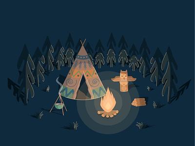 Indian house tent wigwam totem indian letters illustrator illustration though hunting lodge hieroglyphs graphic design forest firevod fire design sauldron bonfire art