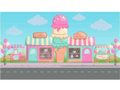 Sweet Street sweets background design art flat vector illustration