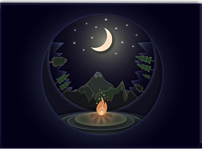 Bonfire in a mountain valley illustrator graphic design valley mountain bonfire flat vector illustration art
