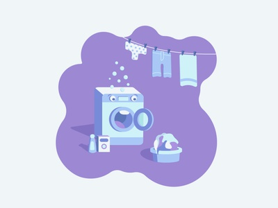 Washing machine in shock shocked shock washing machine illustrator graphic design design flat vector illustration art