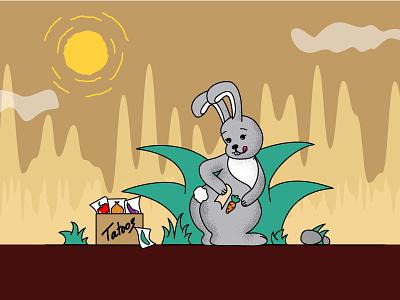 Rabbit with a tattoo tattoo rabbit illustrator graphic design flat vector illustration design art
