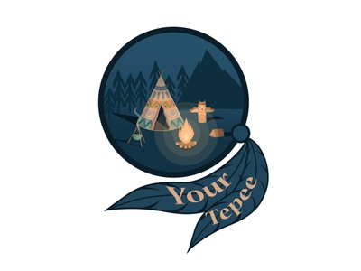 Tepee logo forest mountain illustrator vector icon flat logo graphic design illustration design art