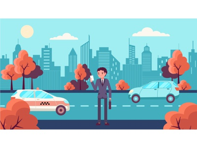 Urban autumn. A man in a suit looks at the photo art graphic design flat design illustrator vector illustration trees car city photo paper suit man autumn