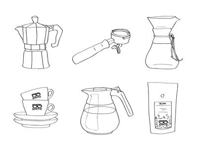 Coffee roaster brand illustrations coffee roaster man met bril koffie rotterdam barista cappuccino espresso portafilter chemex blend percolator