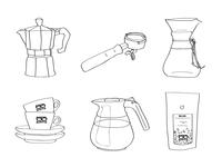 Coffee roaster brand illustrations