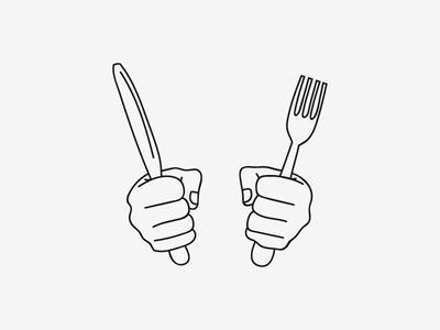 Hungry hands sketch rotterdam man met bril koffie hands knife fork food illustrations