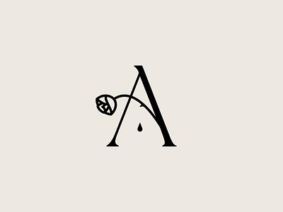 Anonymous Architects letter thorn blood drop logotype logodesign rose logo rose logomark logo