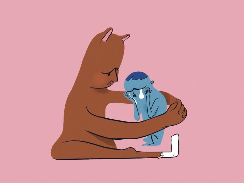 How do you comfort someone? digital childrens illustration brand illustration design flat illustration