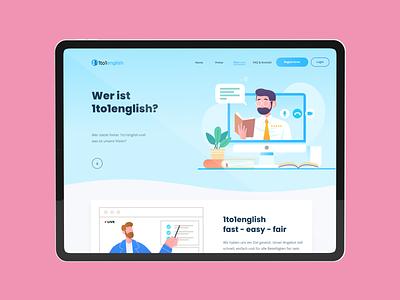 1to1english - About page ux ui design design agency branding illustration landing page design website web design