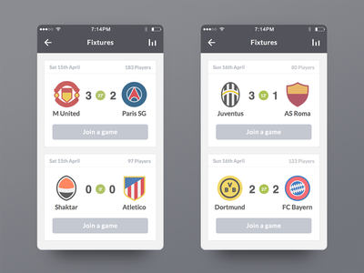 Ultimate Fan Live iOS football illustration ios app iphone flat clean ui fantasy game
