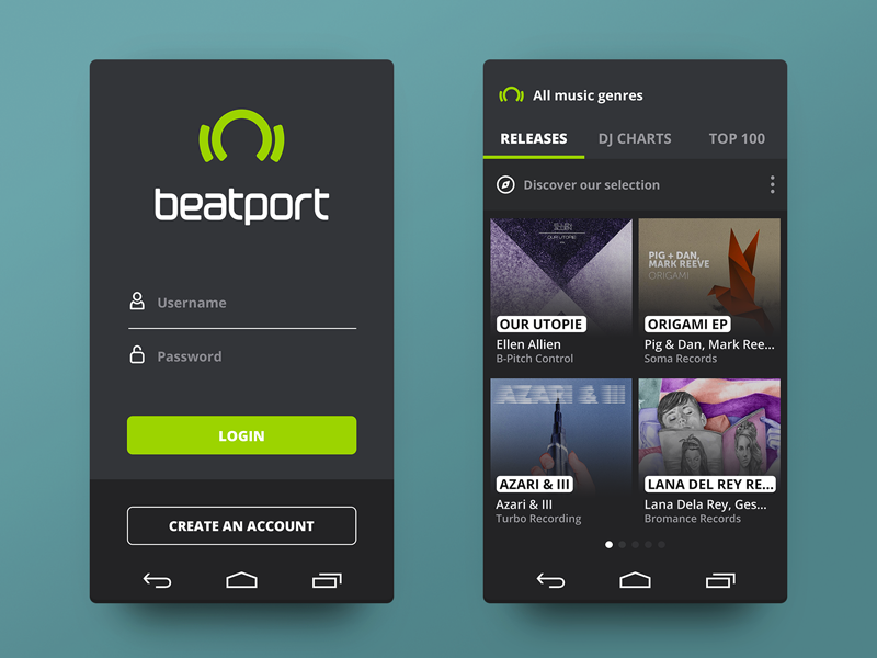 beatport® Android 1 app ui ux flat music concept android mobile design login clean navigation