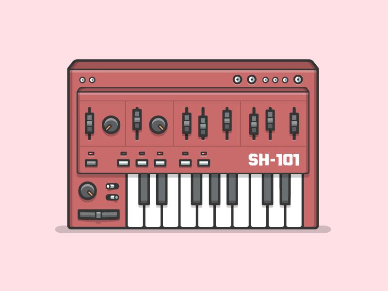 Roland SH-101 vintage vector piano flat music knobs keyboard illustrator illustration synthesizer