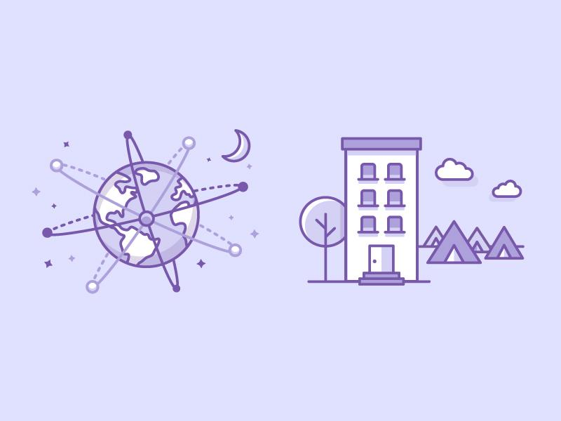 Festicket Illustration 2 icon flat purple camping hotel earth vector illustrator illustration
