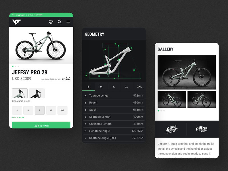 YT Industries - Mobile Product Page Redesign mountain bike material design ecommerce ux web branding typography ui cycling