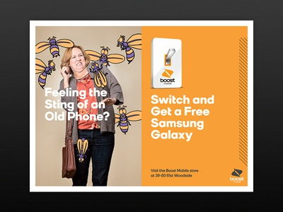 Boost Mobile - Feeling the Sting typography branding poster advertising illustration bees campaign