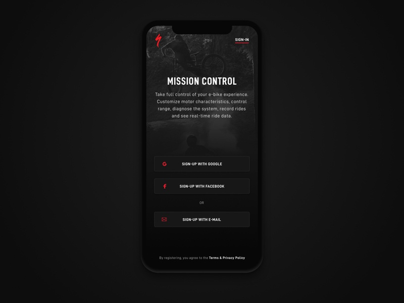 Specialized App Sign-up Screen typogaphy specialized cycling mobile mobile ui ui sign up signup