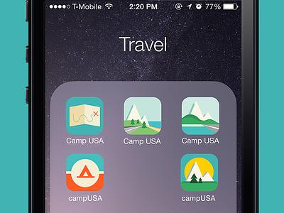 App Icon Design Variations camping app icon ios app design ux ui travel