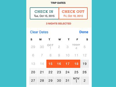 Custom Calendar Picker for iOS custom design picker calendar ios app design ux ui travel