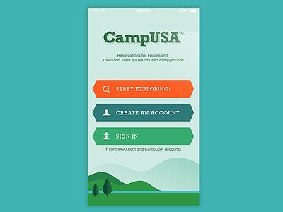 CampUSA Launch Screen launch screen camping travel ui ux design app ios