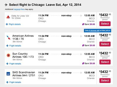 Orbitz AB Test Concept - Selecting Flights ab test travel responsive web responsive web design