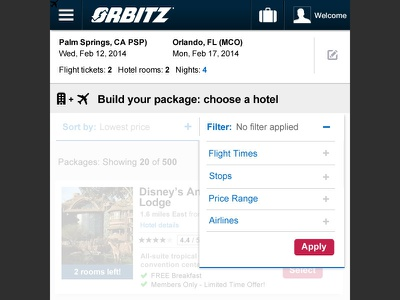 Orbitz: Search Results Filter filters search results tablet travel responsive web responsive web design
