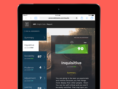 Personality Test Results ux ui tablet design scrolling quiz ipad mobile responsive web