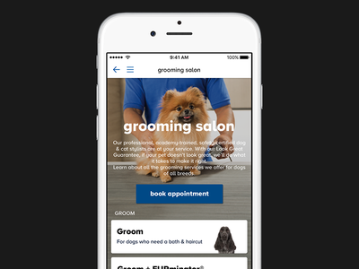 Grooming Landing Page ux ui ios services booking mobile app