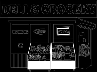 Deli series line drawing black and white illustration