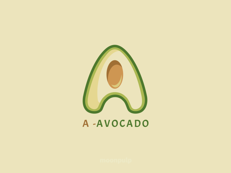 A  - Avocado letter avocado fruit vector logo illustration identity design branding