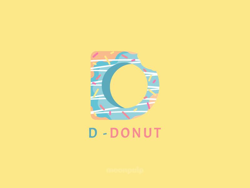 D - Donut letter donut food logo vector illustration identity design branding