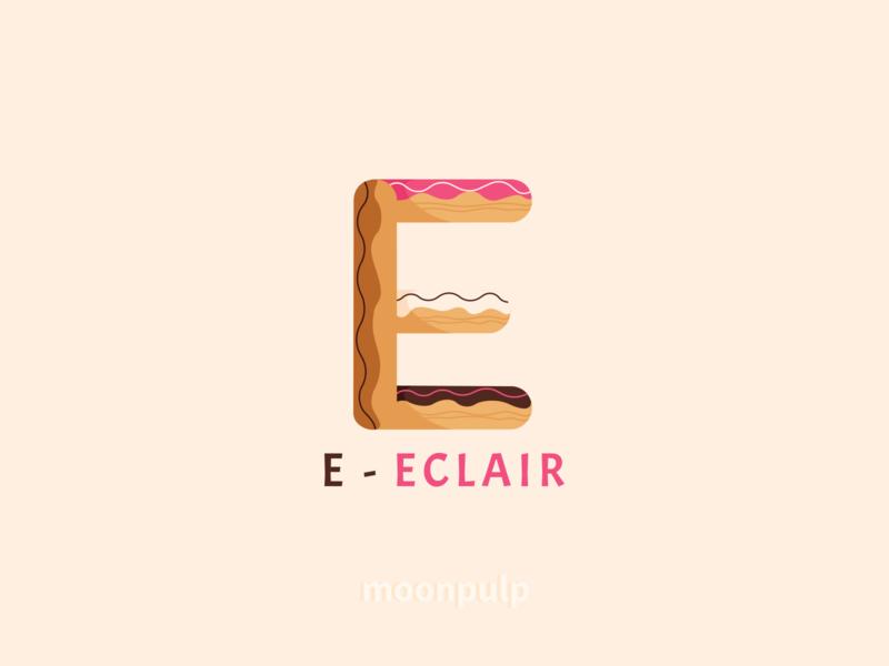 E - Eclair branding design identity illustration food illustration logo vector letter logo food eclair letter