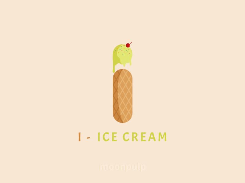 I - Ice Cream letterlogo branding design identity foodillustration illustration vector logo icecream food letter