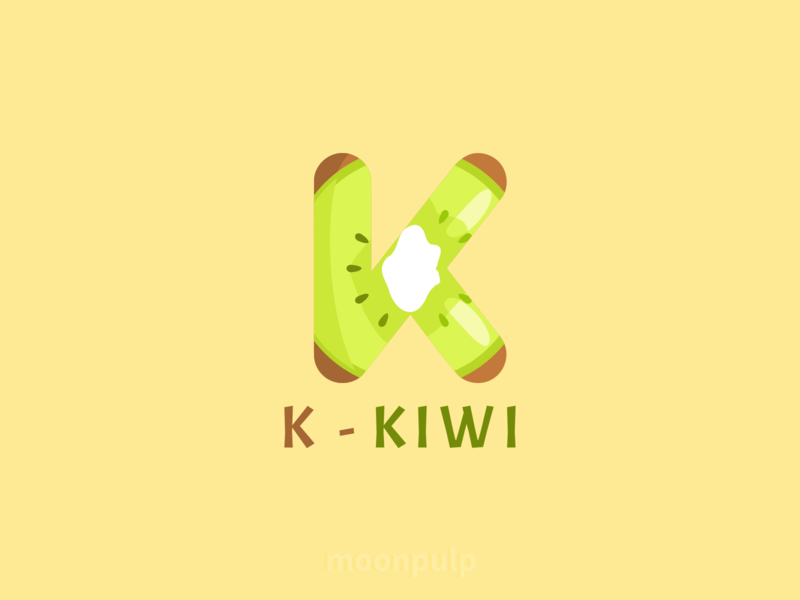 K - Kiwi letter vector logo food illustration foodillustration identity branding design kiwi food letterlogo