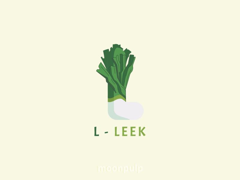 L - Leek letter food design identity logo vector leek foodillustration illustration