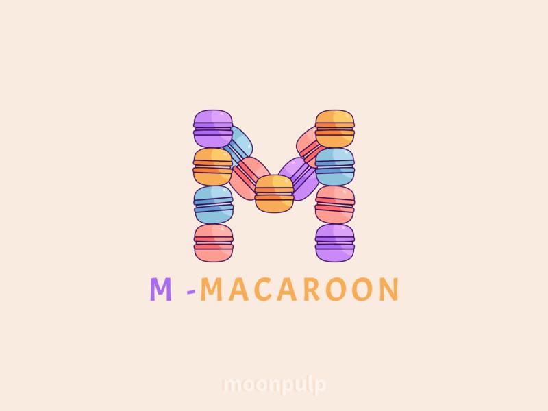 M - Macaroon sweet macaroon identity vector logo food foodillustration illustration letter letterlogo branding
