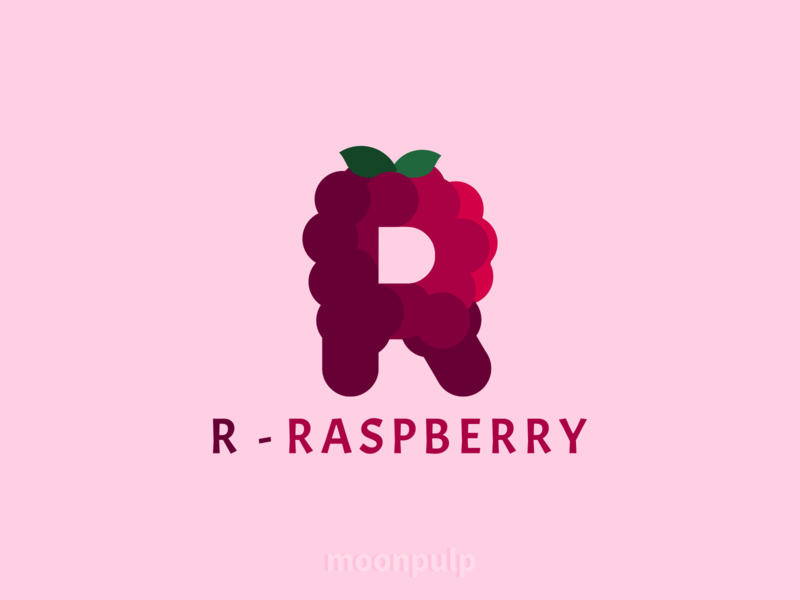 R - Raspberry raspberry letterlogo branding vector letter food illustration foodillustration food logo identity