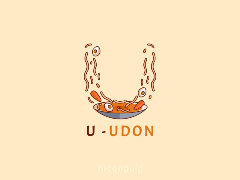 U - Udon udon illustration foodillustration food vector letterlogo letter logo identity