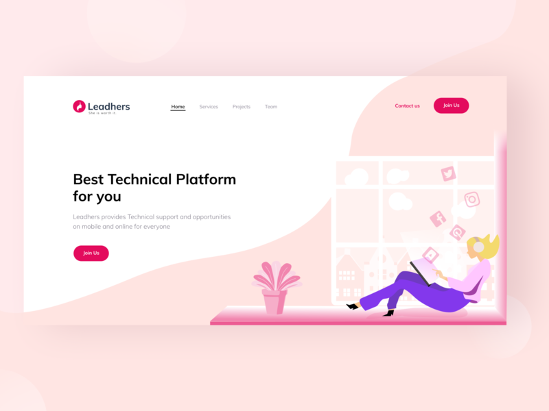 Leadhers - Landing Page UI landing page figma flat technical website webdesign web girl illustration girl illustration ui design ux ui
