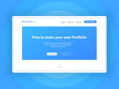 Landing Page - Portfolio Builder xd design simple design webdesign flat portfolio page website web design web portfolio landing page ui design ui