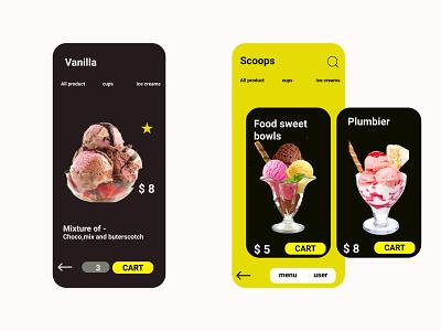 ice cream shop App figma ui ux design