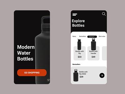 Fancy water bottle sales screen designs ui uiux figma ux design